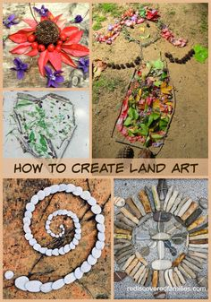 Land art is easy and fun and can be done by anyone Basically it involves making sculptures and art from things you might find in nature such as pebbles rocks twigs sand p. Art Et Nature, Deco Nature, All Nature, Nature Crafts, Nature Hunt, Land Art, Outdoor Fun For Kids, Outdoor Art, Nature Activities