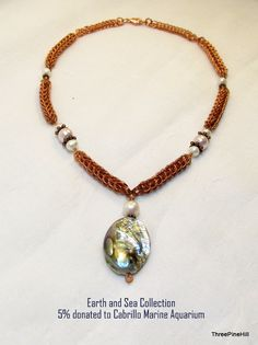 Copper, Pearl, and Abalone Necklace, Handwoven Chainmaille by ThreePineHill on Etsy