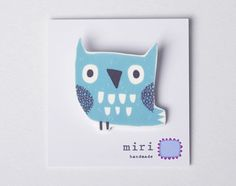 Owl Brooch Pin in Duck Egg Blue, Handmade Woodland Jewellery on Etsy, $18.82