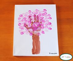 Day 3, God Made Trees craft: thumbprint/handprint spring blossom tree