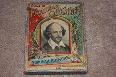 1887 Antique Victorian MCLOUGHLIN BROS GAME OF FAMILIAR QUOTATIONS Cards Toy Box #McLoughlinBros