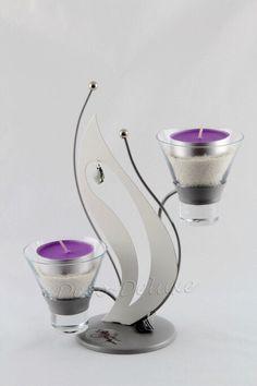 Design-Teelichthalter mit Dekostein grau-weiß matt