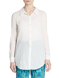 Calypso St Barth Jennica Cheesecloth Blouse In White Calypso St Barth, Cheesecloth, Shirt Dress, Blouse, Cotton Spandex, Long Sleeve, Mens Tops, Shirts, Clothes