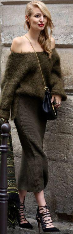 Ooh Couture Off The Shoulder Khaki Fuzzy Sweater Khaki Knit Midi Skrt Black Lace-up Stilettos Fall Inspo