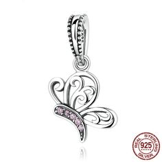 Farfalla con CZ rosa Butterfly Dangle Charm with CZ pink Argento sterling 925 adatta a Pandora Charms Pandora Beads e Bracciale europeo C045 di OceanBijoux su Etsy