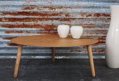 Coffee table in Mid Century Style / Elegant low Table for Sofas / table Round Oak and Iron / Modern Scandinavian Style table