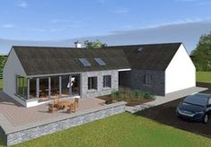 This design has a traditional Irish cottage front with traditional form and vernacular. The rear of the property is where the licence to introduce architectural flair was given, this is evident in … Bungalows, Style At Home, Dormer House, Dormer Bungalow, Modern Bungalow Exterior, Modern Bungalow House Plans, Bungalow Floor Plans, Bungalow Haus Design, Bungalow Designs