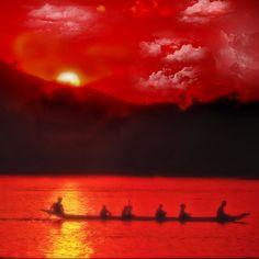 Laos .. Mekong River sunset