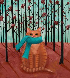 Autumn Ginger Cat in a Scarf  Original Folk Art by KilkennycatArt