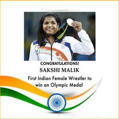 Wrestler #SakshiMalik won medal for India on #Rio2016 #Olympic.