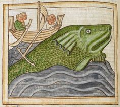 Whale detail from medieval illuminated manuscript, British Library Harley MS 3244, 1236-c 1250, f60v