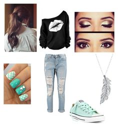 """""""My Outfit"""" by jessie-bookworm01 ❤ liked on Polyvore featuring Boohoo, Converse and Stone Paris"""