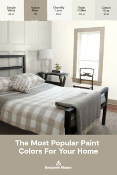 Discover Benjamin Moore's most popular paint colors. We've included both most popular and best-selling colors for you to explore. Which one inspires you? Benjamin Moore Bedroom, Benjamin Moore Colors, Top Paint Colors, Interior Paint Colors, Interior Painting, Interior Plants, Grey Bedroom Paint, Bedroom Colors, Master Bedroom