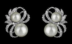 Double Pearl and CZ Stud Wedding Earrings--Affordable Elegance Bridal -