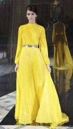 Pleated Canary Dress