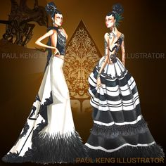 Inspired by Indonesian Wayang Kulit (Shadow Puppets).  Fashion Design & Illustration by Paul Keng @paulkengillustrator
