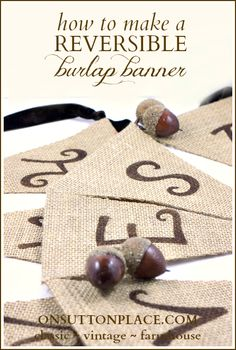 Easy tutorial to make a reversible burlap banner that requires no sewing!