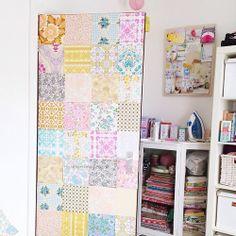 Heart Handmade UK: The Craft Room Update | Ikea Expedit Craft Storage and Vintage Wallpaper Patchwork Door