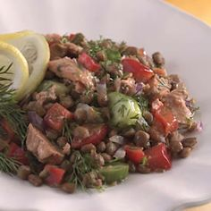 Sencilla y saludable receta de ensalada de lentejas y limón con salmón. Apunta  http://paraadelgazar.ws/sencilla-y-saludable-receta-de-ensalada-de-lentejas-y-limon-con-salmon-apunta/ Salud y Bienestar