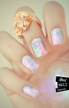 Pastel Marble Nails - Opal Nails - My Birthday Stone! Get Nails, Fancy Nails, Love Nails, How To Do Nails, Hair And Nails, Style Nails, Crazy Nails, Nail Art Aquarelle, Gorgeous Nails