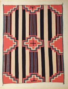 1930s // Russell Vernon Hunter and Chapman of the Laboratory of Anthropology in Santa Fe developed an idea to create a portfolio of Navajo Blankets spanning the years 1840-1910 and drawn from the Laboratory's collections. Chapman selected the weavings and Louie Ewing reproduced the designs through the medium of serigraph for the Federal Art Project. The Navajo blanket designs were to be shared in museums, public buildings, libraries, and schools