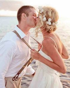 Beach wedding - this is perfect inspiration (hair, beach wedding dress, his suit/outfit etc) for the small, intimate wedding I'd like when me and my love get married. So natural and beautiful <3