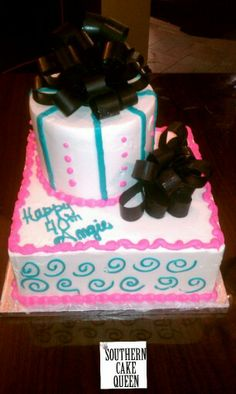 Black,  turquoise,  & hot pink!  Spirals,  dots, chocolate bow  & lines