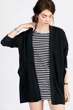 Silence + Noise Brushed Cardigan with striped dress and moto boots
