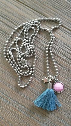 Ball chain necklace with a blue tassel, pink cabochon and metal star charm Metal Stars, Kugel, Ball Chain, Tassel Necklace, Tassels, Charmed, Buttons, Bracelets, Pink