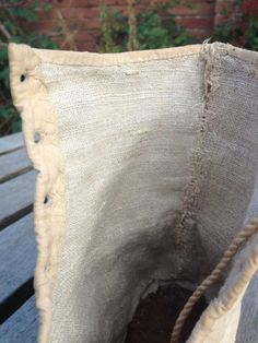 c1810 beige canvas boots. Detail inside of boot, showing coarse linen lining and fairly rough finishing. These were 'everyday' boots, not 'fine' boots.