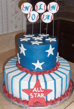 Baseball baby shower cake by Cakes by Andrea, via Flickr