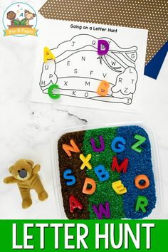 Your preschool and pre-k kids will have a blast with this fun, hands-on activity to go along with the classic picture book, Going on a Bear Hunt. There's even a printable freebie! #preschool #prek #prekpages Teaching The Alphabet, Alphabet Activities, Hands On Activities, Literacy Activities, Literacy Skills, Early Literacy, Letter Recognition Games, Pre K Pages, Little Learners