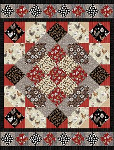"""Check out our FREE """"All Cooped Up"""" quilt pattern using the collection, """"Hen Pals"""" by Maria Kalinowski from Kanvas Studio. Designed by Heidi Pridemore. Finished size: x Lap Quilts, Strip Quilts, Small Quilts, Mini Quilts, Quilt Blocks, Quilt Patterns Free, Free Pattern, Chicken Quilt, Charm Quilt"""