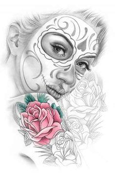 Day of the Dead Sugar Skull Girl Artwork                              …                                                                                                                                                                                 More