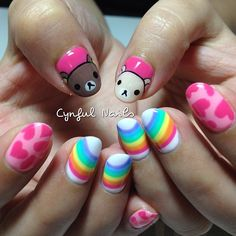 .@cynfulnails | Rilakkuma and Korilakkuma with rainbow and hearts!  #cutenails #sgnails #mani... | Webstagram