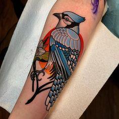 blue Jay tattoo by Dave Wah Blue Jay Tattoo, Traditional Tattoo Animals, Neo Traditional Tattoo, American Traditional, Fire Tattoo, Back Tattoo, Body Art Tattoos, Sleeve Tattoos, Tattoo Ideas