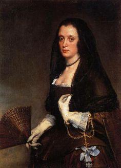 Diego Velázquez (1599-1660 Español) [barroco] Señora con un abanico, 1635.