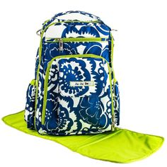 Ju-Ju-Be Be Right Back Backpack Style Diaper Bag - Cobalt Blossoms | www.duematernity.com