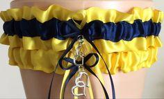 Wedding Garter Set Bridal Garter Set Yellow and by JustFunGarters