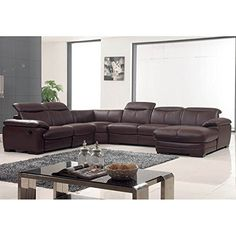 Luca Home Brown Leather Sectional Luca Home Brown Leather Sectional RightSide Chaise