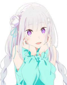 emilia_(re_zero) pointy_ears re_zero_kara_hajimeru_isekai_seikatsu tagme Anime Girl Cute, Beautiful Anime Girl, Kawaii Anime Girl, Anime Art Girl, Manga Girl, Chica Anime Manga, Re Zero Wallpaper, Cute Anime Wallpaper, Loli Kawaii