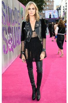 Daily Style Directory: Cara Delevingne wearing an Alexander McQueen leather jacket and lace dress