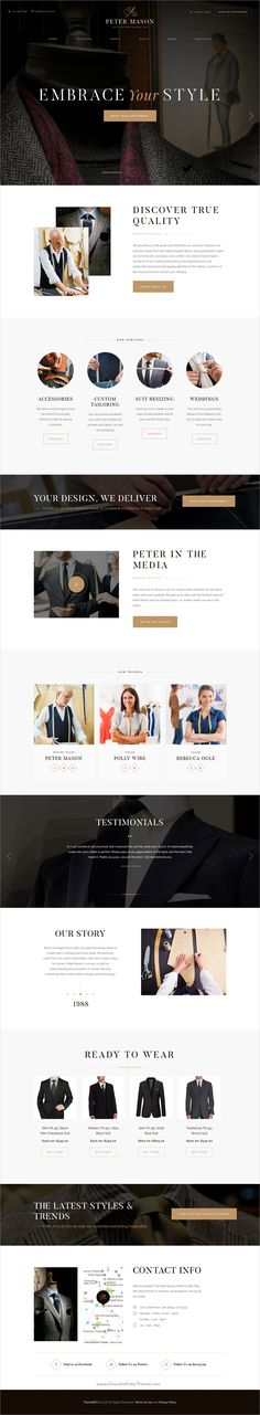 Peter mason is a wonderful responsive #WordPress template for a custom #tailoring and #clothing manufacturer, an online clothing store, clothing repair shop eCommerce websites download now➩ https://themeforest.net/item/peter-mason-custom-tailoring-and-clothing-store/19324964?ref=Datasata