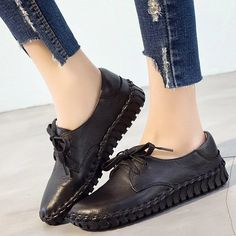 Women's Casual Shoes Women Shoes Female Mother Old Flats Loafers Lace – Touchy Style Winter Work Shoes, Casual Work Shoes, Comfortable Work Shoes, Women's Casual, Black Shoe Boots, Black Shoes Sneakers, Loafer Flats, Loafers, Shoes Women