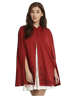 "Should you choose to go exploring dark castles, you should make sure you're covered up and warm! This burgundy cape is inspired by the heroine of <i>Beauty and the Beast</i> and will bring out your inner fearlessness. The hooded cape has three covered buttons at the neck  and an embroidered hem featuring roses, Cogsworth, Lumiere and Mrs. Potts.<div><ul><li style=""list-style-position: inside !important; list-style-type: disc !important"">72% polyester; 23% rayon; 5% spandex</li><li ..."