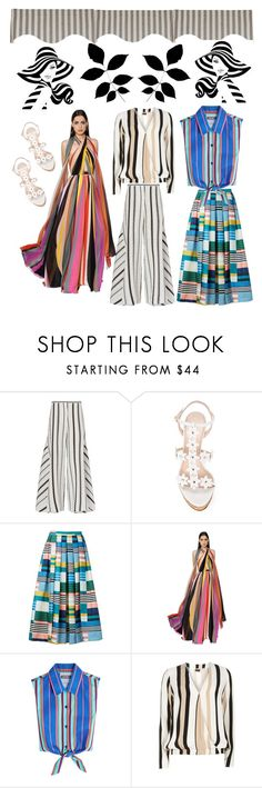 """#Stripes# 💋"" by jojoberryperry ❤ liked on Polyvore featuring Peter Pilotto, Oscar de la Renta, L.K.Bennett, Elie Saab, Moschino and Dorothy Perkins"