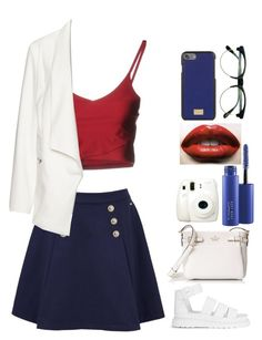 """Blue, Red, And White"" by azealya ❤ liked on Polyvore featuring Tommy Hilfiger, Boutique de la Femme, Dr. Martens, Manon Baptiste, Kate Spade, Fuji, Baiser, MAC Cosmetics, Dolce&Gabbana and Retrò"