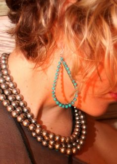 TURQUOISE BEADED HOOPS - Junk GYpSy co.