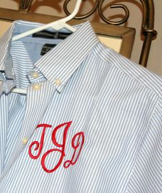 1ac2da06aab Nautical Ralph Lauren like style with Red Monogram on Blue Oxford. Memento  · Monogrammed Dress Shirts