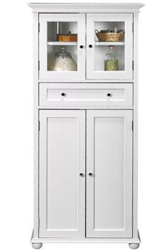 $199 Amazon.com - Hampton Bay 1 drawer Tall Storage Cabinet, 4-DOOR, WHITE - Bathroom Furniture Sets